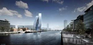 Проект сдвоенной башни на северном берегу реки Лиффи. Skidmore Owings & Merrill.